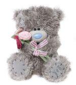 Мишка Тедди держит цветы, 25см