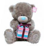 Мишка Тедди держит подарок 30 cм