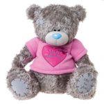 Мишка Тедди в розовой футболке с сердцем With Love from Me To You. 61 cм